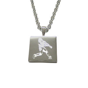 Silver Toned Etched Baseball Player Unisex Necklac
